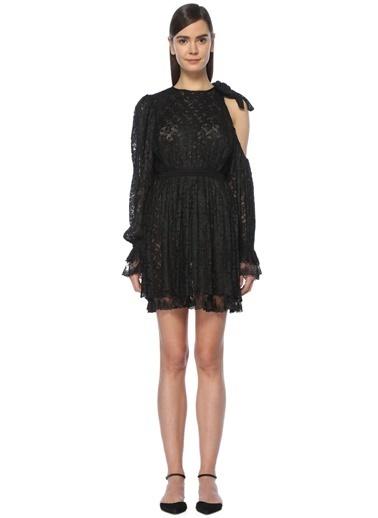 Floor Mini Abiye Elbise Siyah